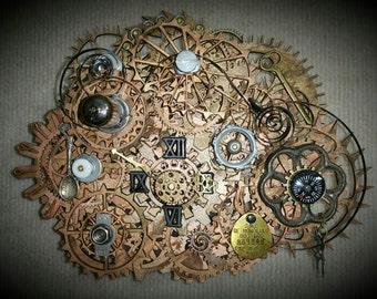 Fathers Day Gift, Steampunk Clock - Wall Clock, Desk Clock, Upcycle, Reuse, Repurpose, Gears, Clock Parts, Art, Gift, - EK Original #003
