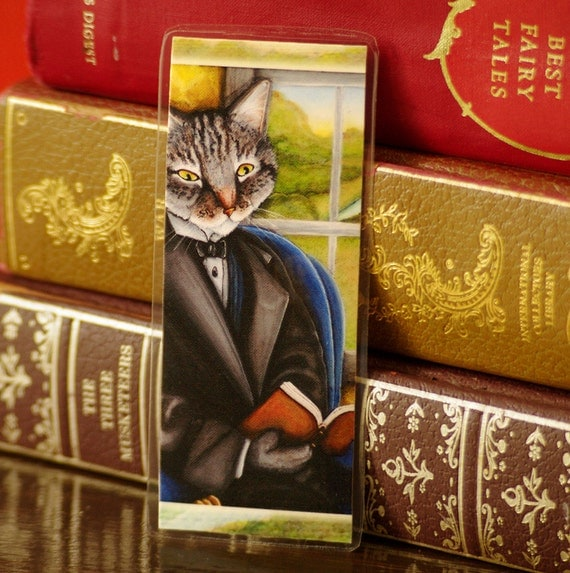 Cat Reading Book Bookmark Grey Tabby Literary Cats Laminated Paper Bookmark