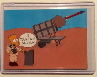 1990s Bart Simpson In Your Face Saddam Trading Card