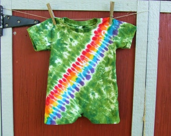 18m Tie Dye Baby Romper - Rainbow in the Forest - Bandolier Bandoleer -  Ready to Ship
