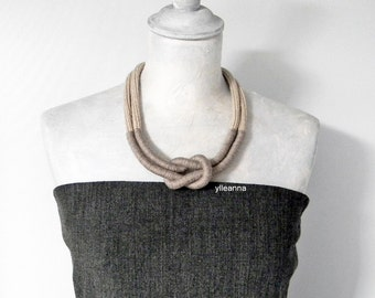 Statement necklace - Wool necklace - Minimalist jewelry - Neutral colors beige taupe - Gift for woman.