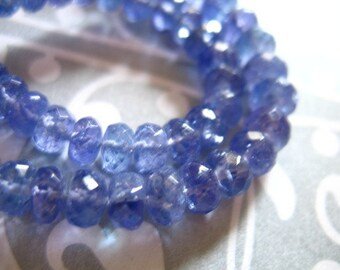 10 25 50 pcs, Tanzanite Rondelles, Luxe AAA, 3-4 mm, Faceted, Periwinkle Blue, brides bridal exotic gem december birthstone 34