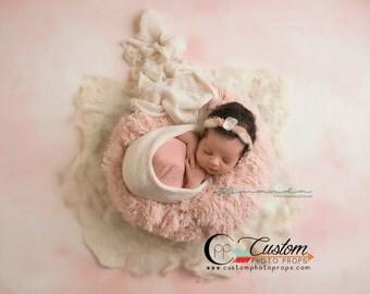 LaRgE Peekaboo Peach Faux Fur, So, So SoFt Newborn Photography Props, Newborn Photo Props, Baby Props, Backdrop, Floor, Fur