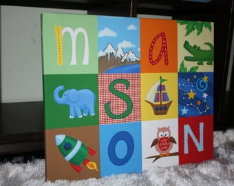 Personalized Alphabet Patchwork Name Stretched Canvas Children's Bedroom Wall Art CS0019