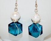 CLEARANCE SALE Wire Wrapped, Faceted Teal Crystal, and Huge Freshwater Pearls by Debbie Renee