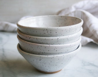 Set of Four Rustic Stoneware Bowls in Speckled White Glaze Handcrafted White Pottery Made in USA Ready to Ship