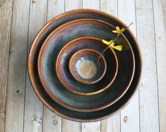 Large Nesting Set Rustic Handmade Ceramic Earthy Amber - Pottery Bowls Four Piece Stoneware Stacking Bowls Ready to Ship Made in USA
