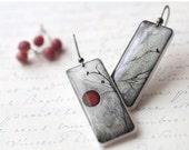 Red Moon Earrings - Red and Black earrings - Full Moon earrings - Halloween jewelry (E035)