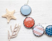 Nautical necklace - Red and blue necklace - Sea jewelry (BN017)