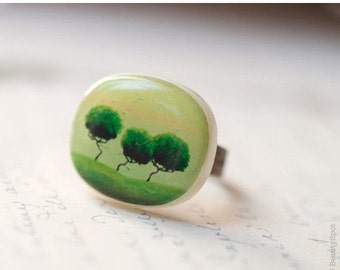 Green tree ring - Green ring - Green trees jewelry - Adjustable ring - Nature ring - Statement ring - Green jewelry - Art jewelry  (R015)