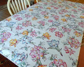 vintage tablecloth rectangular floral Spring Summer flowers, table linens, dining table, kitchen table, easy care