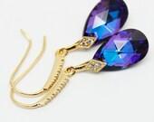 Eggplant Purple Earrings Gold Blue Plum Pear Heliotrope Swarovski Crystal Sterling Gold CZ Bridesmaids Wedding Bridal Jewelry