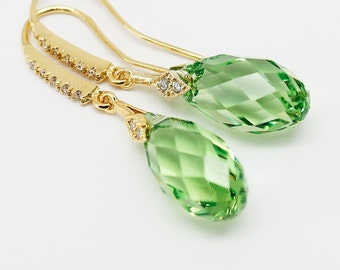 Peridot Green Earrings Gold Crystal Jewelry Swarovski Crystal Briolette 17 mm Sterling Bridal Wedding Jewelry Fashion Modern Minimalist