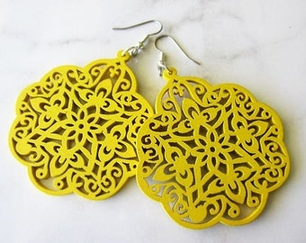 Large Yellow Moroccan Style Filigree Wooden Earrings