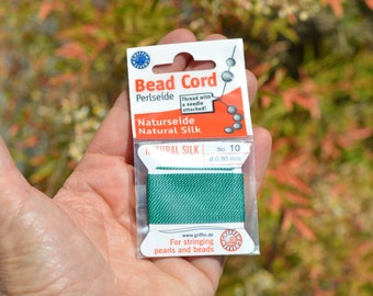 1 Package Perlseide Natural Silk Green  Bead Cord F455