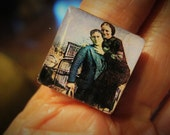Bonnie and Clyde Outlaw Couple, Inch Square under Acrylic, Antique Brass Unisex Setting, FREE SHIPPING