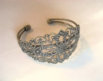 Brass Cuff Bracelet Adjustable Filigree Bracelet Jewelry Flower Bracelet Wraparound Adjustable