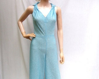 50% Off Sale 60s 70s Sparkly Blue Jumpsuit and Jacket size Small Darling Debs Wideleg Jumpsuit