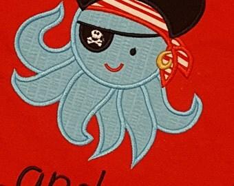 Ocotopus Pirate Eye Patch Beach Vacation Ocean Custom Personalized Shirt Boy or Girl