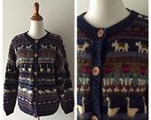 vintage HOMESTEADER wool cardigan / vintage LL Bean sweater