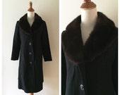 vintage SANDRA wool and mink coat, black woven wool dress coat with mink shawl collar