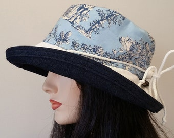 Sunblocker - large brim sun hat featuring heirloom wedgewood inspired print with adjustable fit