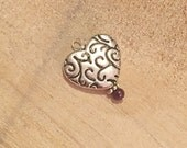 Patterned Sterling Silver Plated Heart and Cranberry Pearl Charm on Sterling Silver