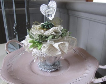 Shabby Chic Gift Mom - Altered Cupcake Tin - Lace Cupcake - Vintage Lace Decor