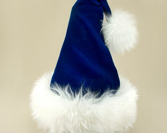 Dancer Blue Velvet Reversible Santa Hat