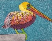 Pelican Art Print, Original Fine Art Collograph, Large Waterbird, Pelican on Blue 14