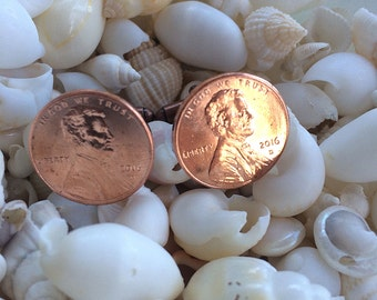 2016 Cufflinks - US 2016 Lincoln One Cent Coins