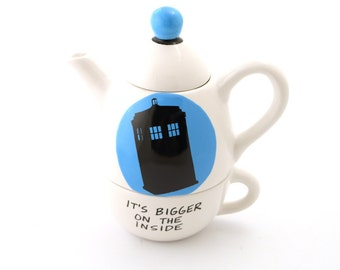 Doctor Who Teapot, Tardis, tea for one, It's bigger on the inside, Dr. Who fanart,home and living, pottery and ceramic, tea set