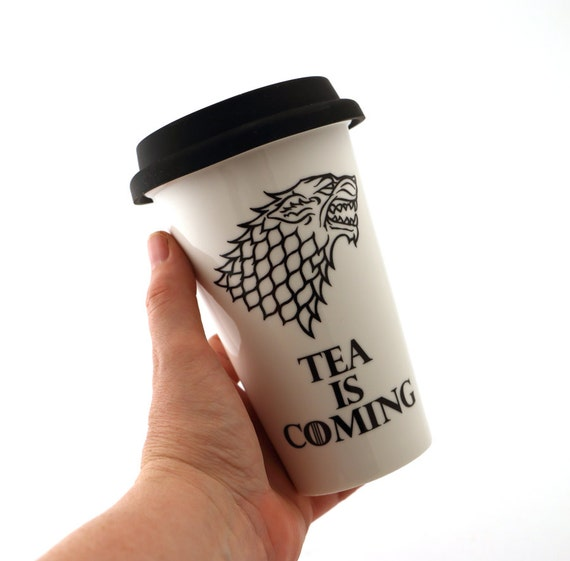 Game of Thrones travel mug, porcelain double walled eco cup with grey flexible lid, tea is coming, GOT fan art, gift for him