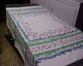 """Vintage Table cloth -greens, blues on white background - 46X50"""""""