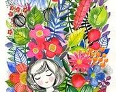 "Garden Dream... original watercolor... 12"" x 16"" in... (30 x 40cm)"