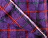 """Vintage Plaid Linen Upholstery Fabric - Purple Red Teal Designer Plaid - Pillow Curtain Chair Cushion Yardage - 2 yards X 54"""" Width NOS"""