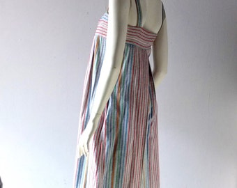 Vintage Multicolor Cotton Striped Twill Sun Dress - 1970s Ellen Tracy Modern - size 6 8 10 - Summer Fashion Glam - 70s Laurel Canyon Cool