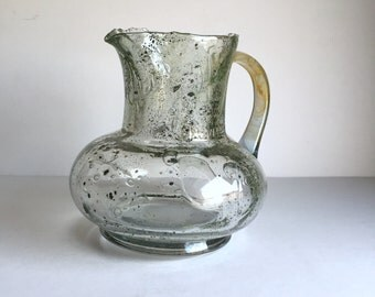 End of the Day Bubble Glass Pitcher - 1930s 1940s Ireland - Unique Rustic Grotesque Hand Blown Gorgeousness - Collectible Glass Pitcher