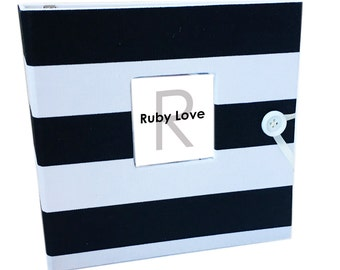 BABY BOOK | Black and White Canopy Stripe Album | Ruby Love Modern Baby Memory Book