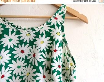 35% OFF SUMMER SALE Green Floral Print Summer Dress