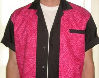 Men's Rockabilly Shirt Jac Pink Leopard
