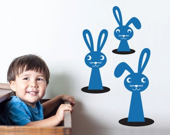 Peeping Bunny Wall Decals Woodland Animal Baby Nursery Room Theme