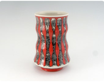 Etched Porcelain Tumbler With Striped Design    Ceramics Pottery