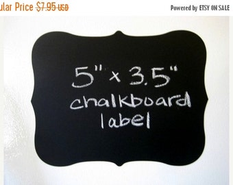 Buy 2 Get 1 FREE- Large Fancy Vinyl Chalkboard Labels Self Adhesive  - SET OF 6 -  Make your own mini chalkboards
