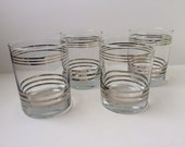 Silver Band Bar Glasses, Set of Four