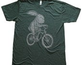 Men's Rabbit on a Bike T - American Apparel 50/50 Poly Cotton Tee - Heather Forest Unisex Shirt