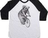 Koala on a Bike - Unisex American Apparel Raglan Baseball Tee Shirt