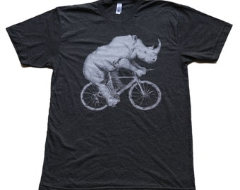 Rhino on a Bicycle - Mens T Shirt, Unisex Tee, Tri Blend Tee, Handmade graphic tee, sizes xs-xxl