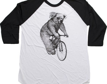 Koala on a Bike -  Baseball Raglan Tee, Mens T Shirt, Unisex Tee, Cotton Tee, Handmade graphic tee, Bicycle shirt, Bike Tee, sizes xs-xxl