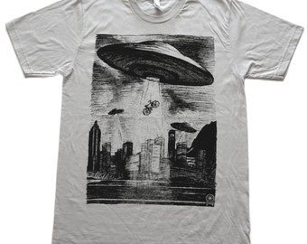 UFO Bike Abduction- Mens T Shirt, Alien tee, Unisex Tee, Cotton Tee, Handmade graphic tee, Bicycle shirt, Bike Tee, sizes xs-xxl